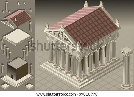 isometric pantheon building
