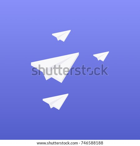 Isometric paper plane vector illustration in flat style isolated from background. Origami plane illustration. Handmade paper plane and child paper plane.