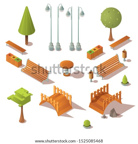 isometric park set benches