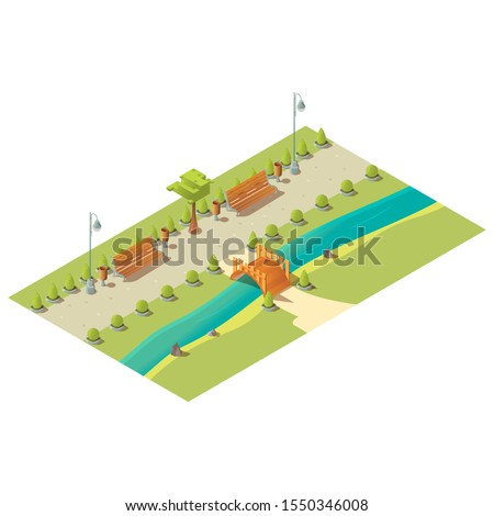 isometric park with benches