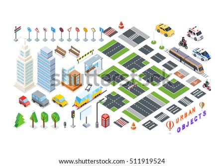 Isometric part of the city infrastructure. Isometric town, street modern, real structure, architecture exterior. 3d elements for map - road, city transport, house, auto, crossroad, tree, buildings.
