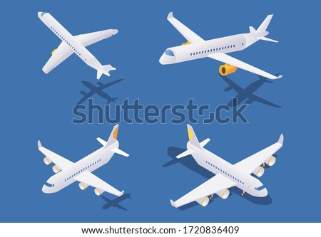 Isometric passenger airplanes during take-off, in flight and on ground. Vector concept collection isolated on blue background with shadows