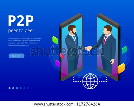Isometric Peer to peer and Fintech concept. Two Businessman interacting with each other through mobile device displays.
