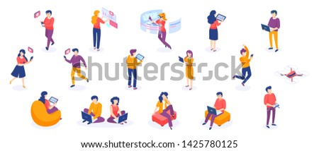 Isometric people and gadgets. Young men and women characters with smartphones and gadgets. Vector modern freelance business people on white background