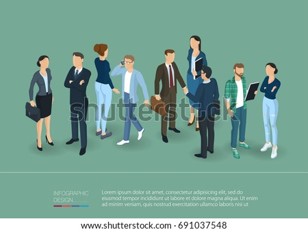 Isometric people crowd with speech bubbles. Man and woman, various characters, poses and professions, front and back view. Isometric vector presentation and banner template.
