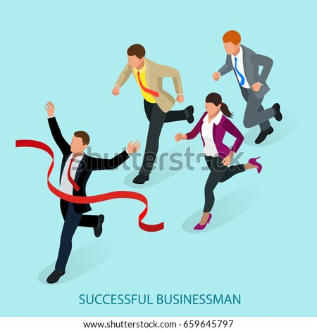 Isometric people. Entrepreneur business man leader. Businessman and his business team crossing finish line and tearing red ribbon finishing first in a market race.  Flat style vector illustration.