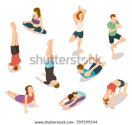 Isometric people in yoga positions isolated on white. Vector illustration of man and woman stretching, training in gym, sitting in asana and lotus pose
