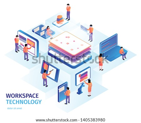 Isometric people interfaces background composition with small human characters and images of electronic devices with text vector illustration