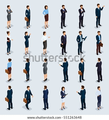 Isometric People Isometric businessmen, businessman and business woman, people in business suits during work, front view rear view isolated on a light background. Vector illustration