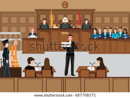 Isometric people judicial system set with judge, defendant, attorney, jury and witnesses vector illustration. Foto stock ©