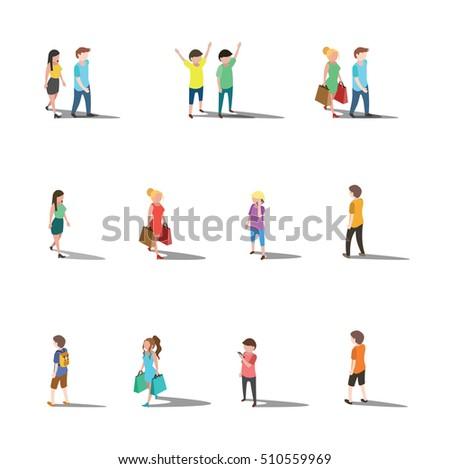 Isometric people lifestyle character design