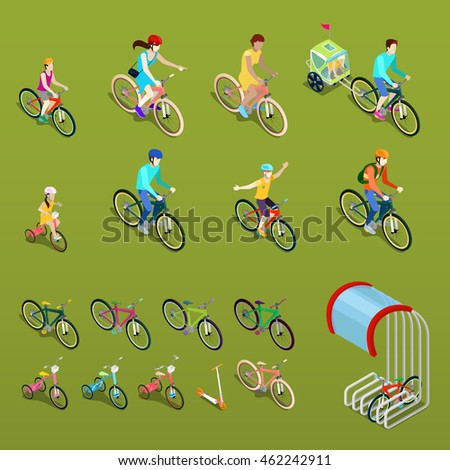 isometric people on bicycles