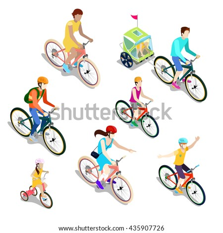 Isometric People on Bicycles. Family Cyclists. Vector flat 3d illustration