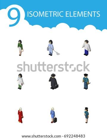 isometric people set of female