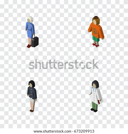 isometric people set of girl