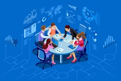Isometric people team contemporary management concept. Can be used for web banner, infographics, hero images. Flat isometric vector illustration isolated on blue background.