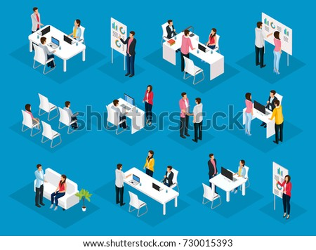 Isometric people teamwork set with business meetings collaboration negotiations brainstorming conference partnership project discussion isolated vector illustration