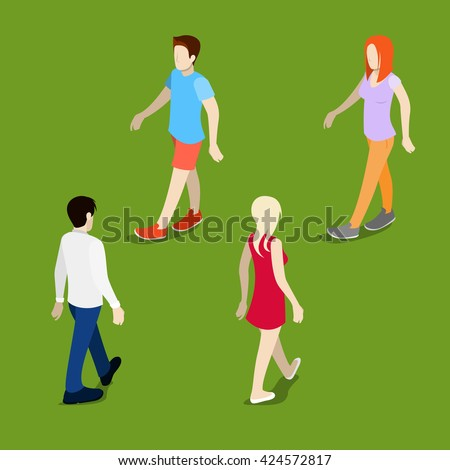 isometric people walking man