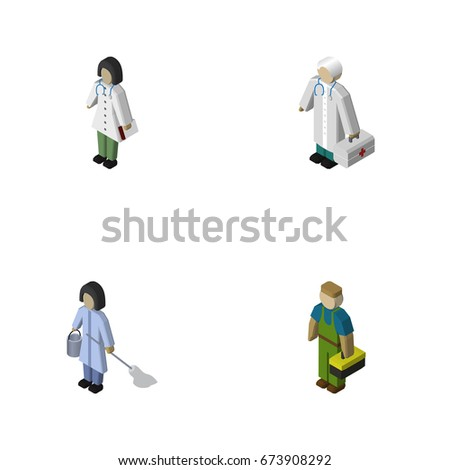 isometric person set of doctor