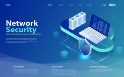 Isometric personal data protection. Security Data Protection Isometric  vector illustration. Concept of cloud information and data storage. Cyber security and information or network protection.