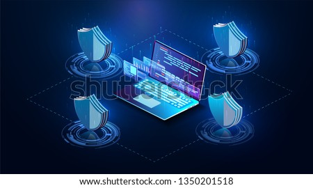 Isometric personal data protection web banner concept. Cyber security and privacy. Network digital technology concept. Security vector icon. Vector isolated illustration. The future of data security.