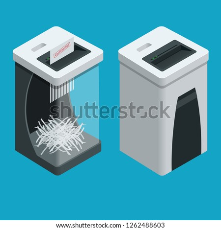 Isometric Personal Paper Shredder. Two Documents shredders with paper inside isolated on the background. Foto stock ©