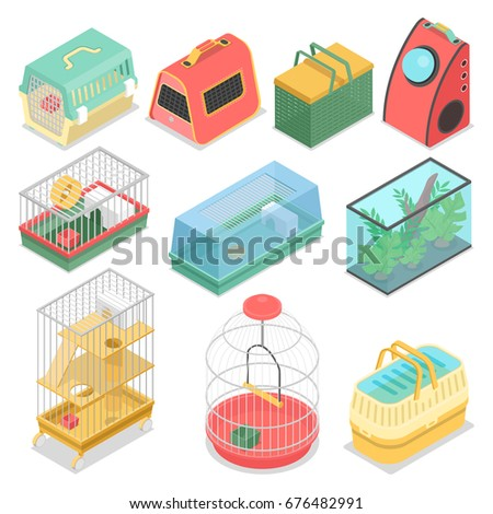 isometric pet carriers with