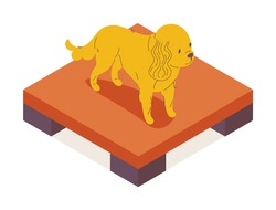 Isometric pet character isolated on white. Vector 3d pause table and dog standing on the top