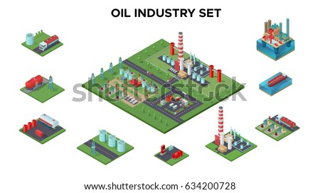 Isometric petroleum industry concept with oil plant platform refinery drilling rigs transport gas station barrels industrial equipment isolated vector illustration