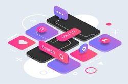 Isometric phone mockup. UX design concept. Comfortable mobile interface for online information search, web communication and device settings. Vector smartphones screens and abstract geometric shapes