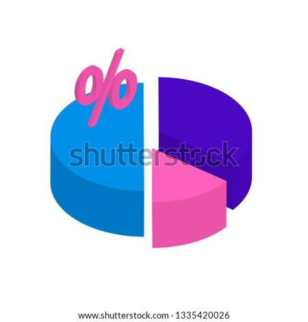 Isometric pie chart divided into sectors represented a proportion of the whole. Percentage vector illustration