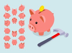 Isometric piggy bank. The objects are isolated against the light-blue background and shown from different sides