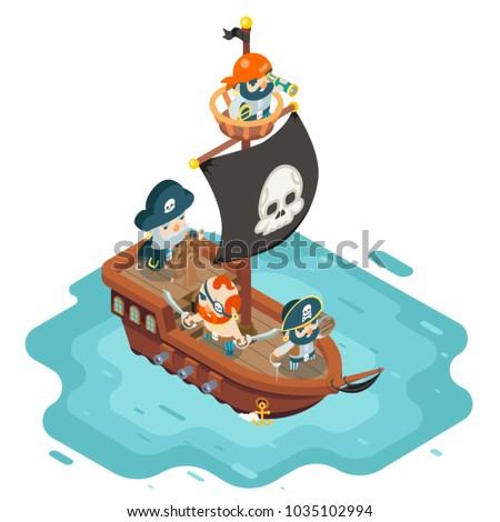 Isometric pirate ship crew buccaneer filibuster corsair sea dog sailors captain fantasy RPG treasure game character flat design vector illustration