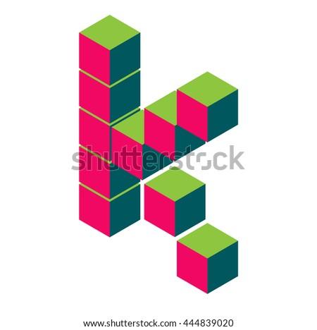 isometric pixel letter k 3d