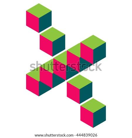 isometric pixel letter x 3d