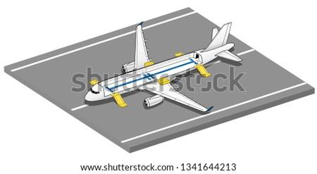 Isometric Plane Crash Airplane Slide . Airbus Window Rescue. emergency evacuation slides deployed. Plane 3d Illustration Vector. Stockfoto ©