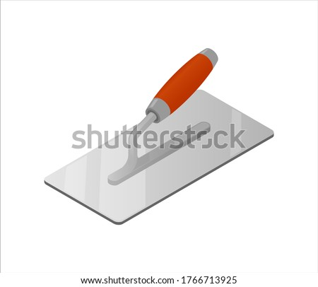 Isometric plastering trowel isolated on white background. Colorful trowel vector icon for web design. Four-sided stucco trowel with red plastic handle. Construction tool. Vector illustration. 3D. Stockfoto ©