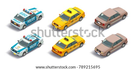 Isometric police car, taxi cab, regular car with front and rear views isolated vehicles.