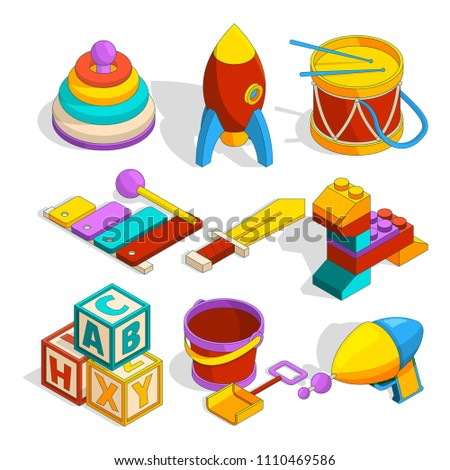 Isometric preschool children toys. Game for child, play and toy for kindergarten, drum rocket and block. Vector illustration