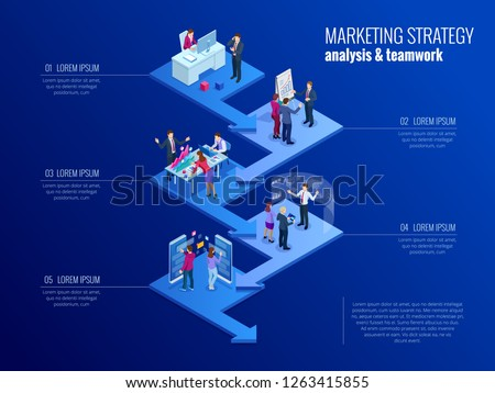 Isometric presentation business infographics template. Business data visualization, digital marketing, strategy, marketing, technologies. Process chart. Creative concept for infographic