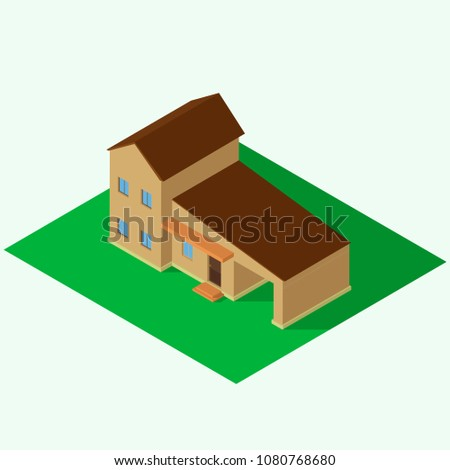 isometric private house  two