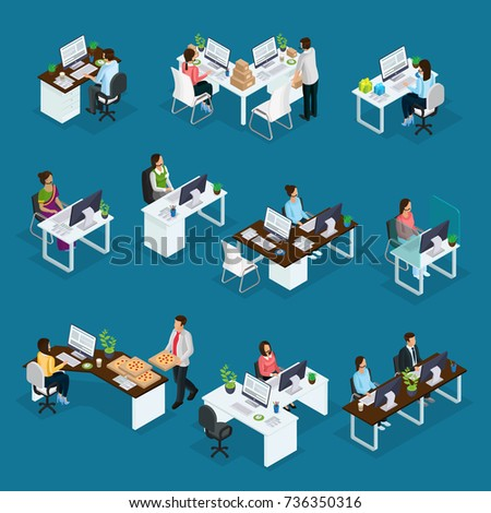 Isometric professional support workers set of different services with operators sitting at table in call center isolated vector illustration