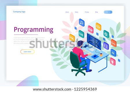 Isometric programmer coding new project. Web developer, programming concept. Landing page or mobile website development template.