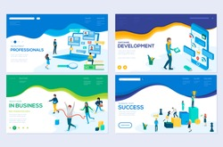 Isometric programmer working in a software develop company office. Winner business and achievement concept. Businessman and his business team crossing finish. Job interview, recruitment agency