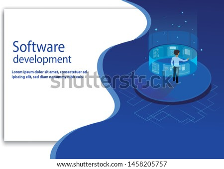Isometric programmer working in a   virtual software develop company office. Developing programming and coding technologies concept. UX UI User Interface and User eXperience Process.