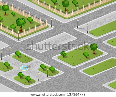 Isometric projection of the vector of an urban area