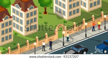 Isometric projection of the vector of the city with people and cars