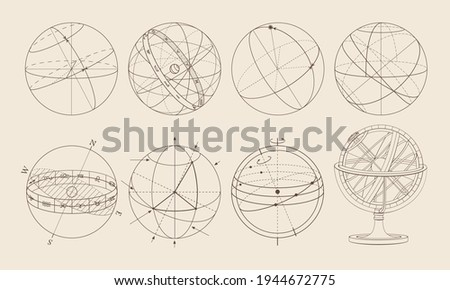 Isometric projection. The celestial sphere. Armillary sphere. Options.