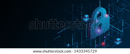 Isometric protection concept. Protect mechanism, system privacy. Foto stock ©