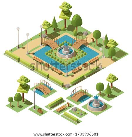 isometric  public city park for